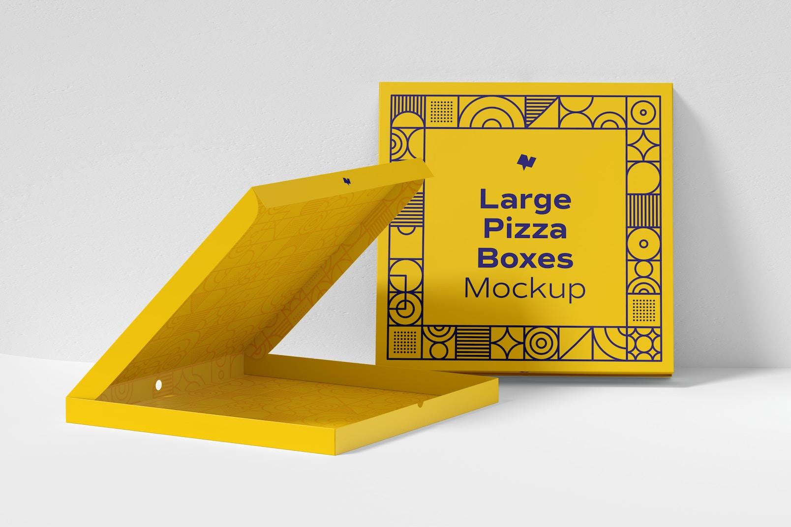 Large Pizza Box Mockup, Leaned