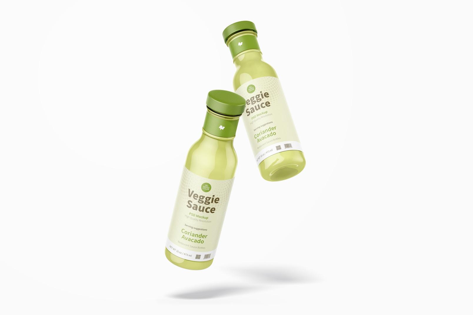 12 oz Veggie Sauce Bottle Mockup, Floating