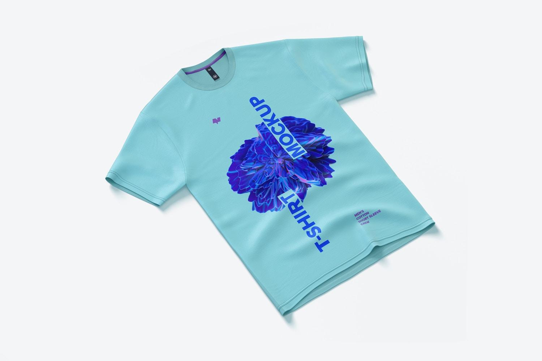 Men's Cotton Short Sleeve Crew T-Shirt Mockup, Left View