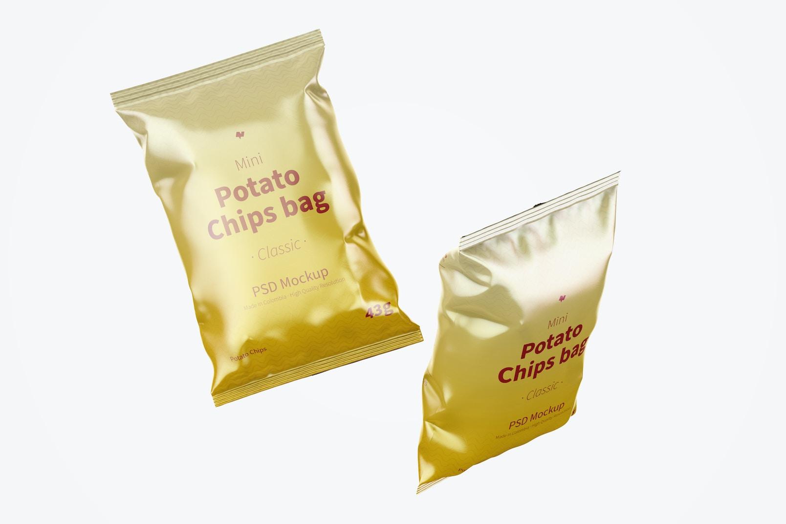 Glossy Mini Potato Bags Mockup, Floating