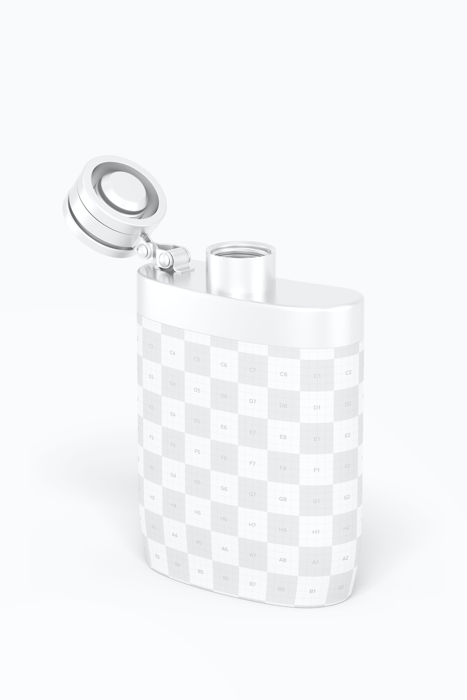 Liquor Flask With Plastic Wrap Mockup, Perspective