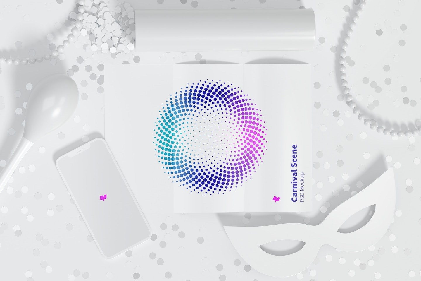 Carnival Scene Mockup with Brochure and iPhone