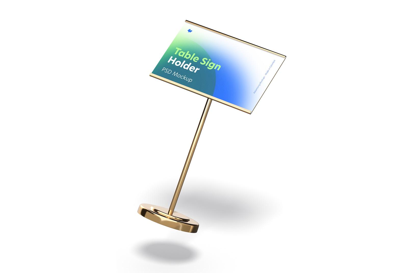 Table Sign Holder Metallic Base Mockup, Falling