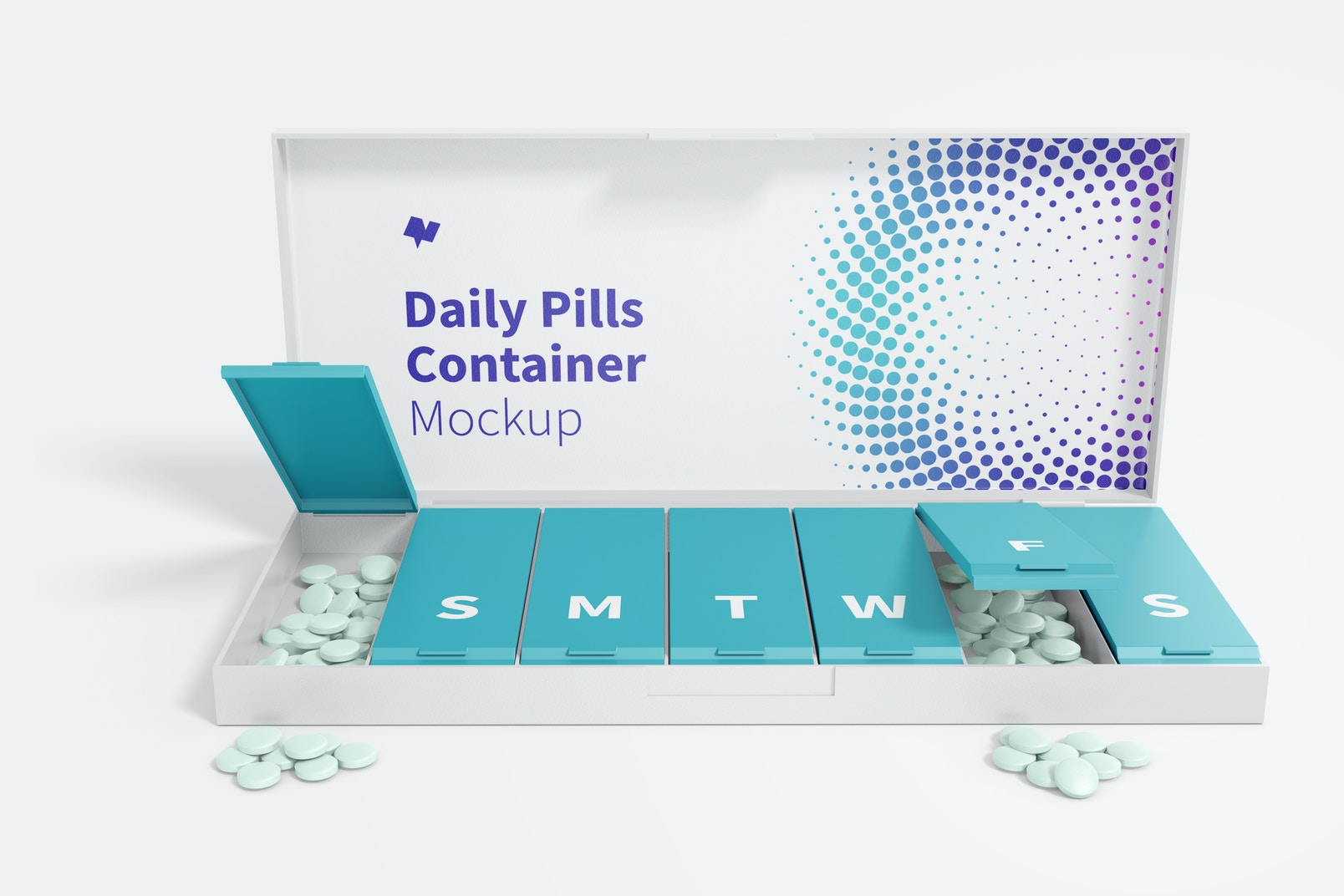 Daily Pills Container Mockup, Front View