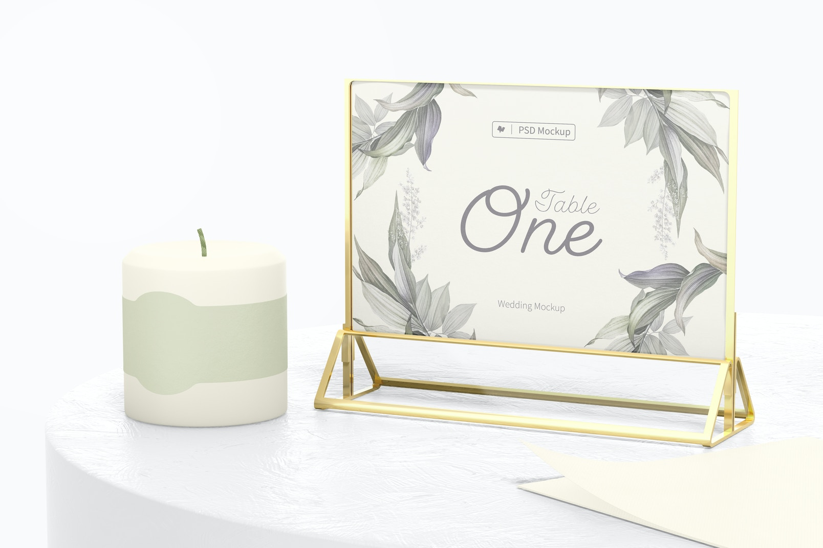 Acrylic Table Card Frame Mockup, with Candle