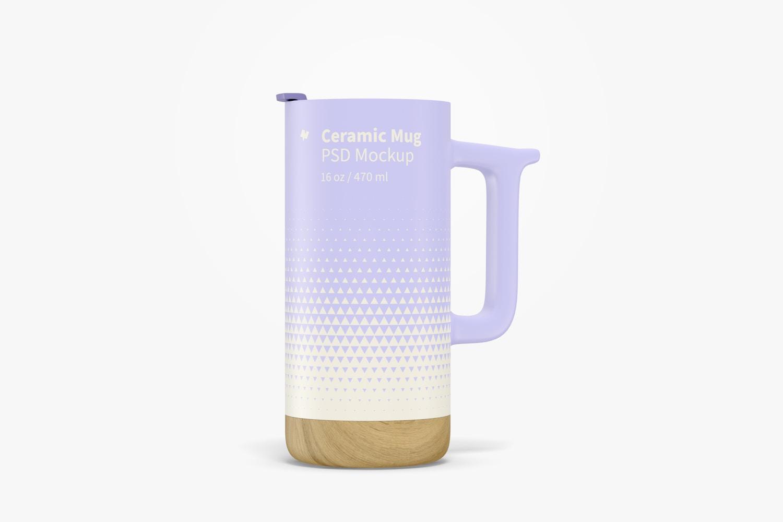 16 oz Ceramic Mug with Wood Base Mockup, Front View