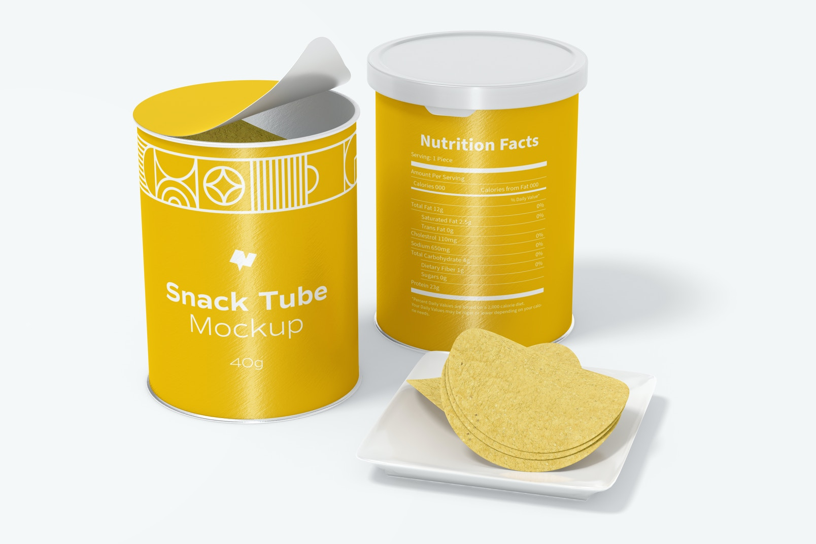 40g Snack Tube Mockup, Opened and Closed