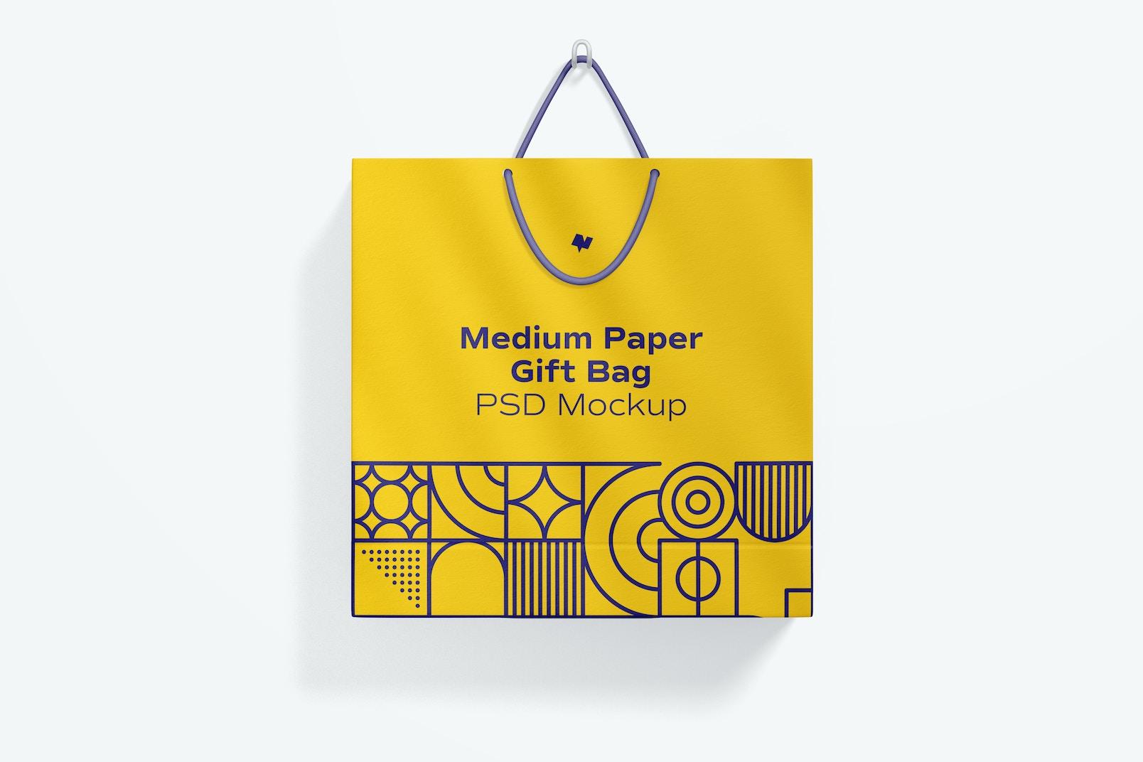 Medium Paper Gift Bag With Rope Handle Mockup, Hanging