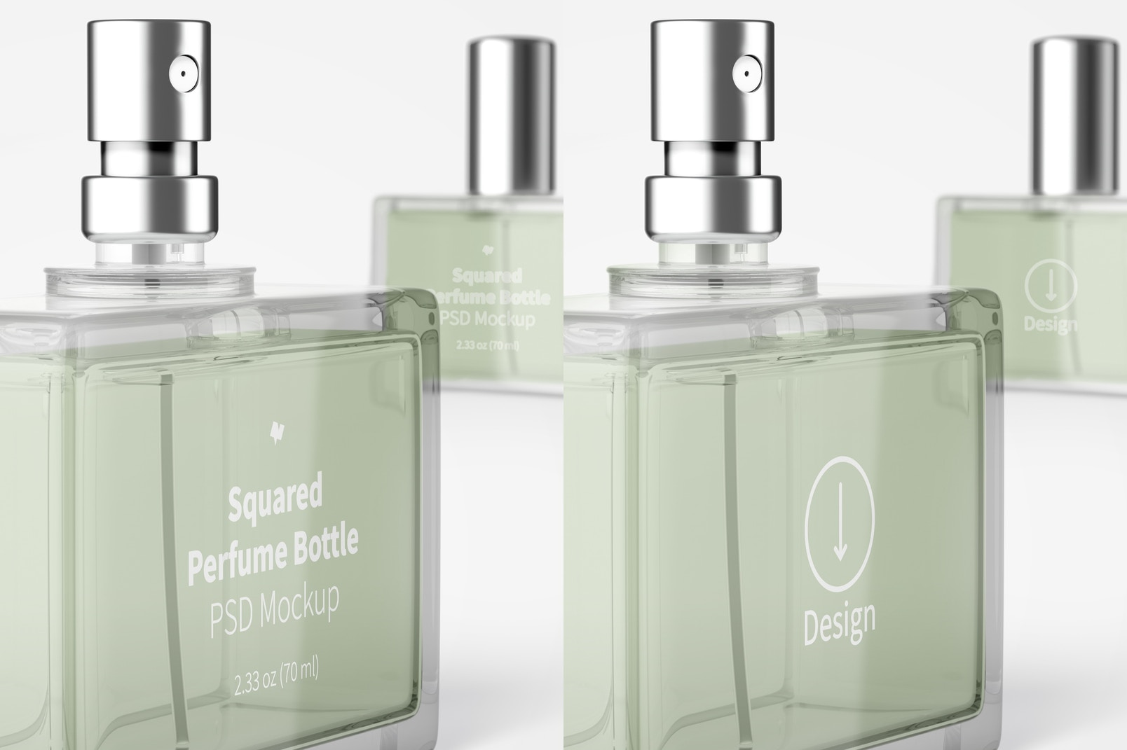 Squared Perfume Bottle Mockup, Close Up