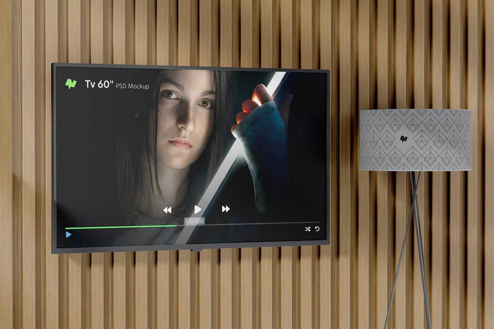 """Tv 60"""" Mockup, on Wall"""