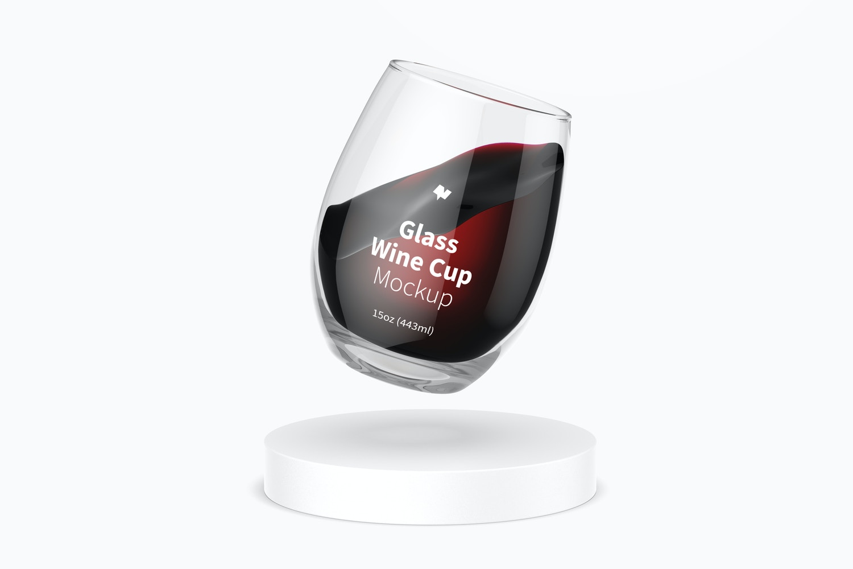 15 oz Glass Wine Cup Mockup, Floating
