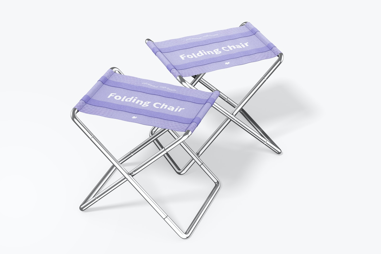 Folding Chairs Mockup, Left View