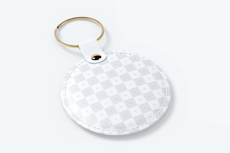 Round Leather Keychain Mockup