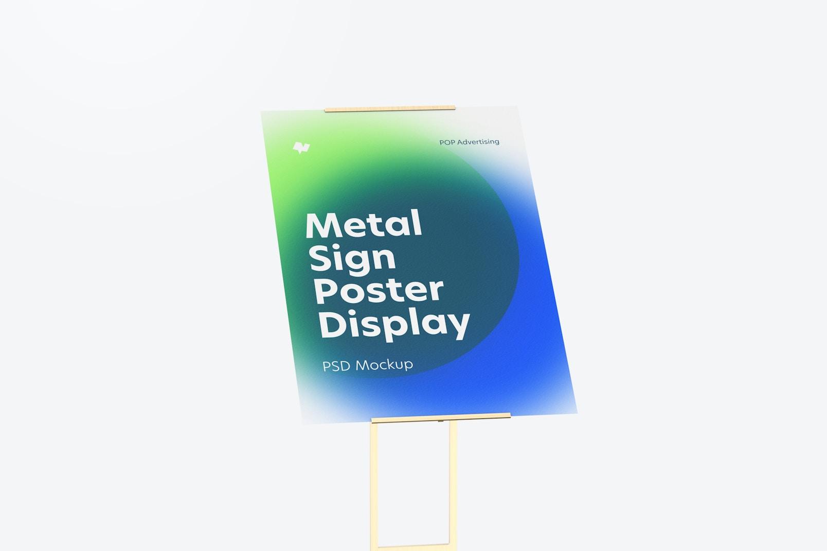 Metal Sign Poster Floor Display Mockup, Close-Up