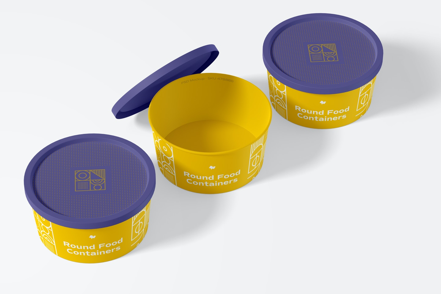 Round Plastic Food Delivery Containers Mockup