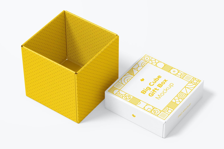 Big Cube Gift Box Mockup, Opened