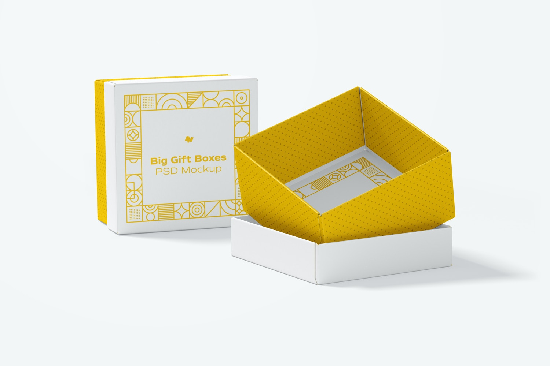 Big Gift Boxes Mockup, Perspective