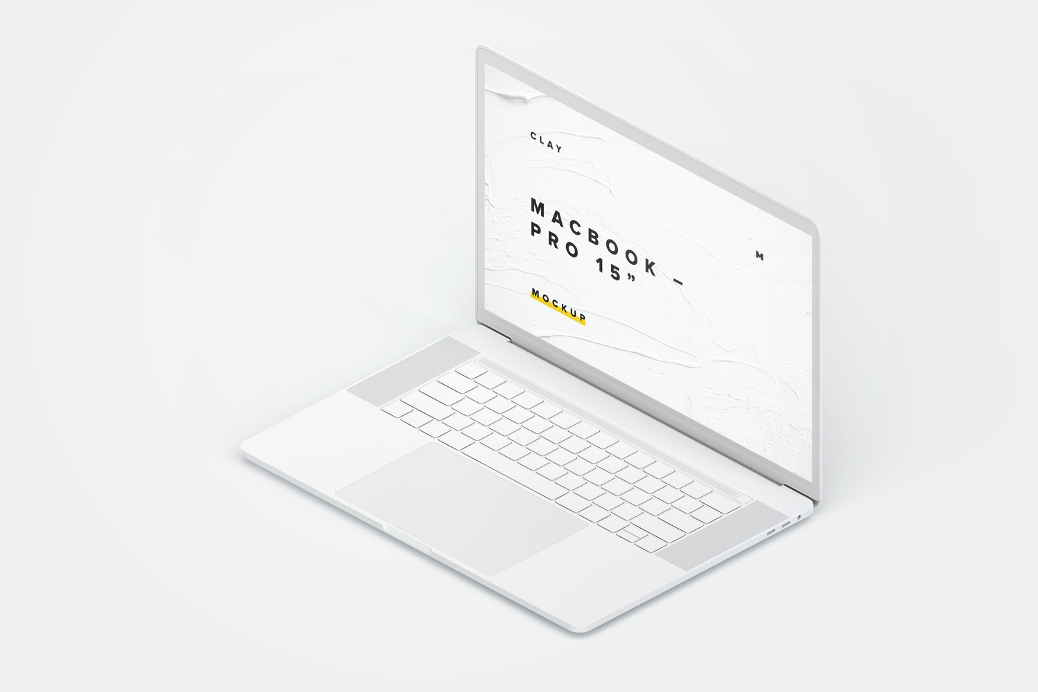 """Clay MacBook Pro 15"""" with Touch Bar, Right Isometric View Mockup"""
