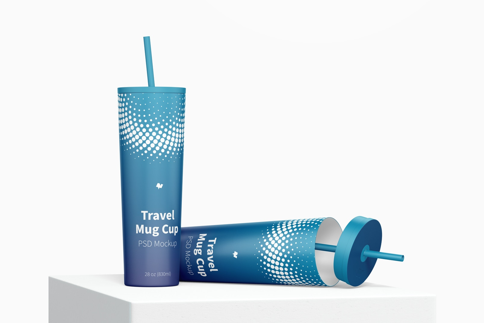 Travel Mug Cups Mockup, Dropped