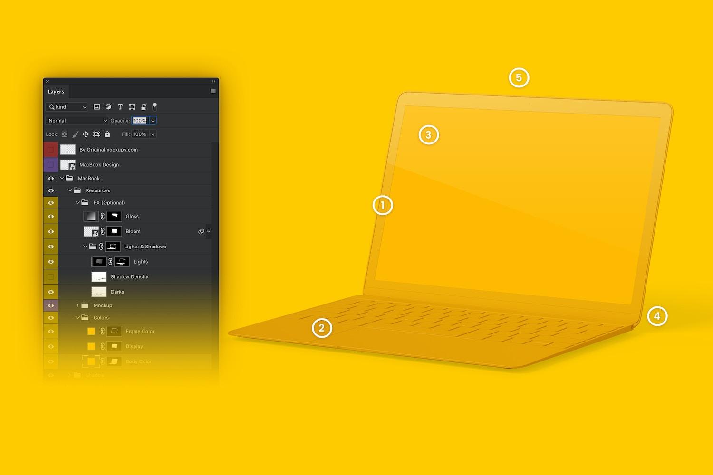 Maqueta de MacBook Multicolor, Vista Derecha (6) por Original Mockups en Original Mockups