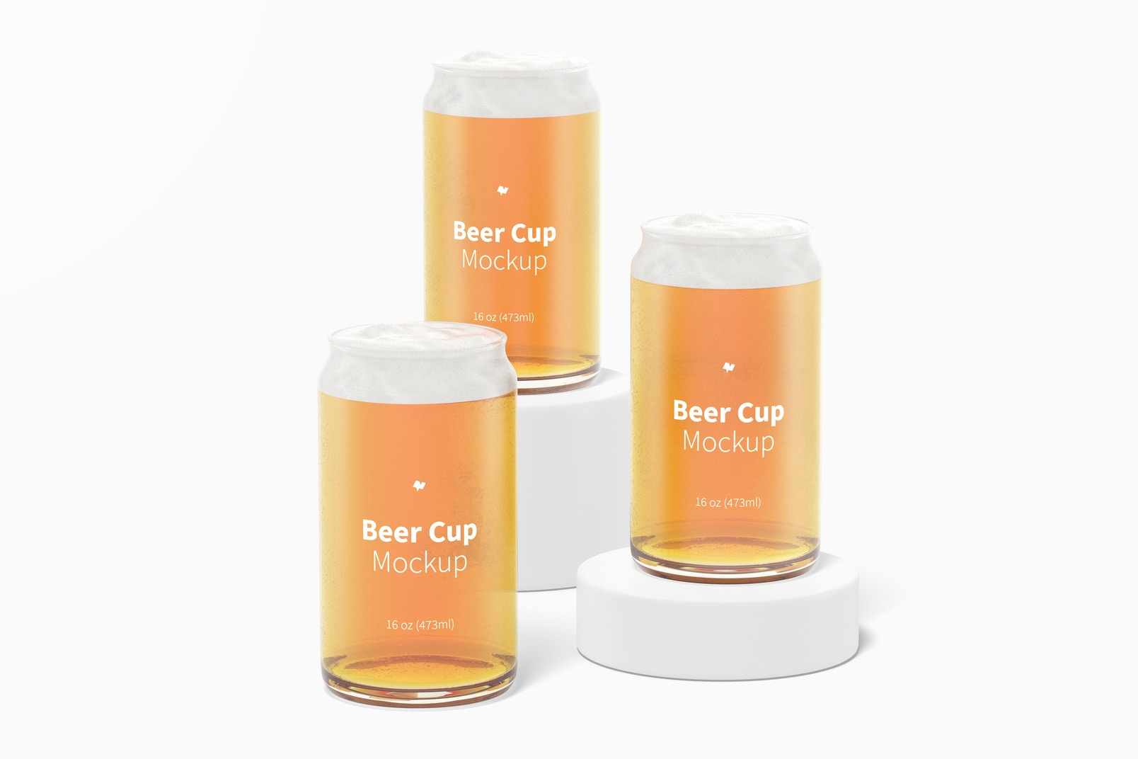 16 oz Glass Beer Cups Mockup, Front View