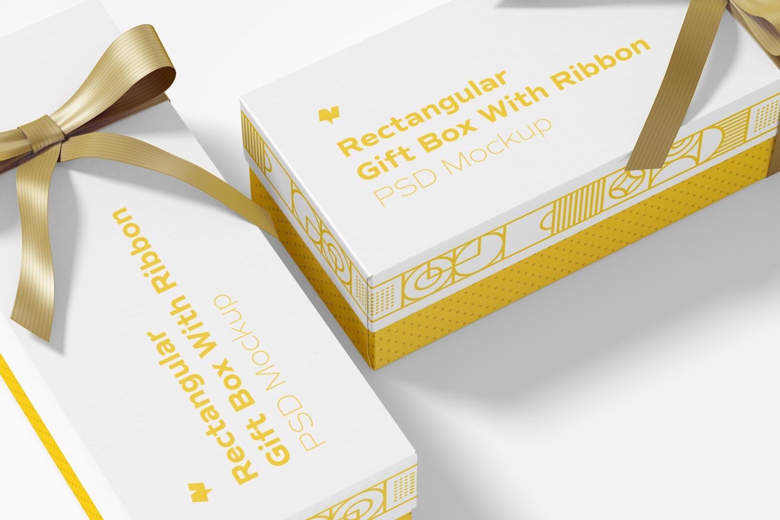 Rectangular Gift Boxes With Ribbon Mockup, Close Up