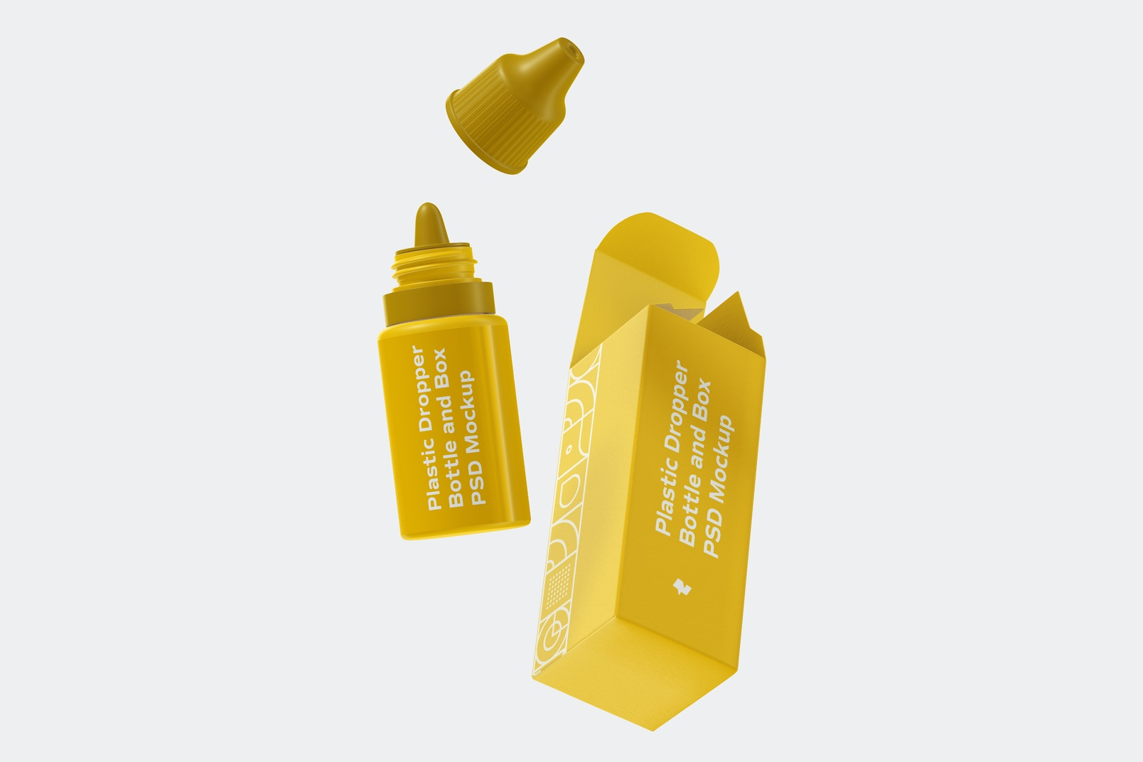 Plastic Dropper Bottle and Box Mockup, Floating