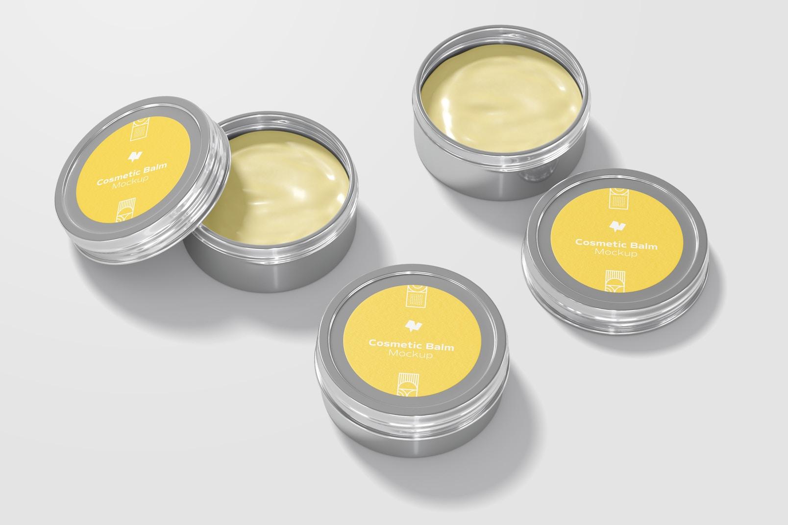 Metallic Cosmetic Balm Packaging Set Mockup