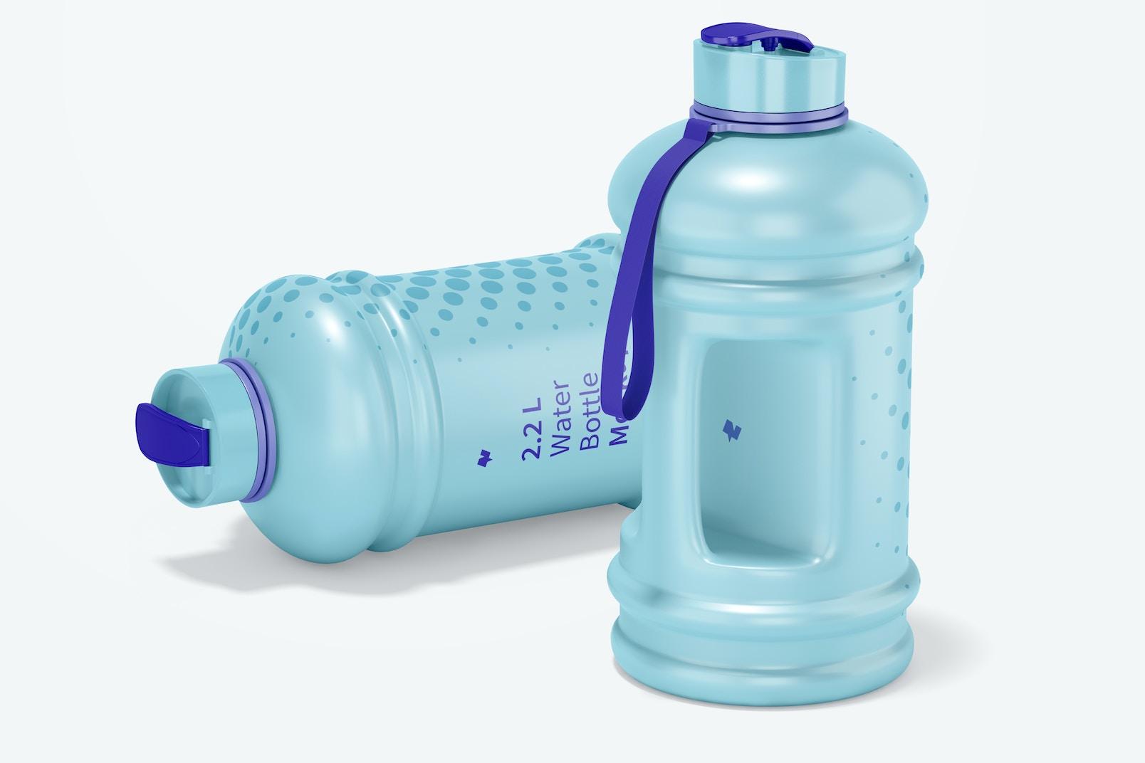 2.2 L Water Bottle Mockup, Dropped