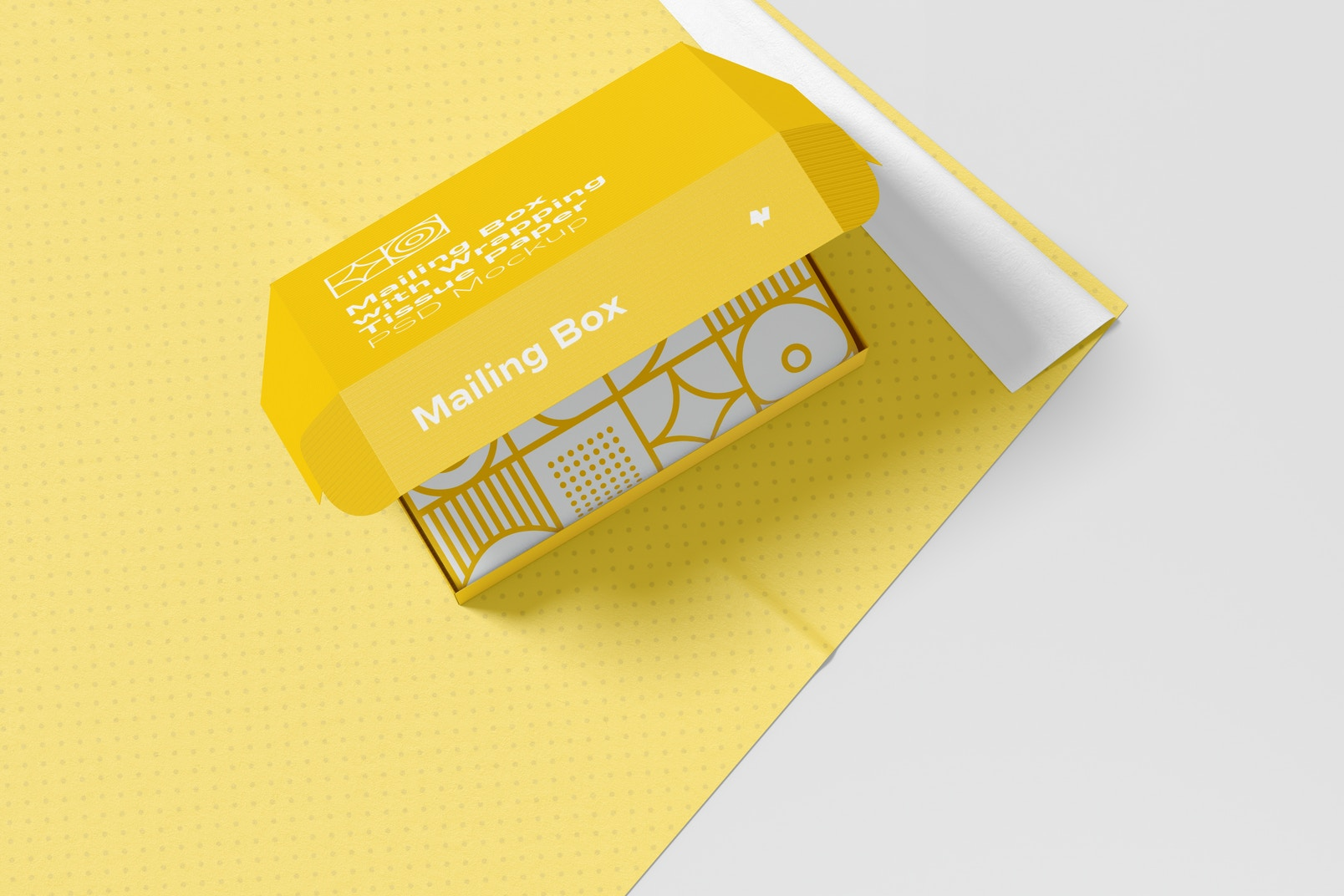 Mailing Box with Wrapping Tissue Paper Mockup, Top View