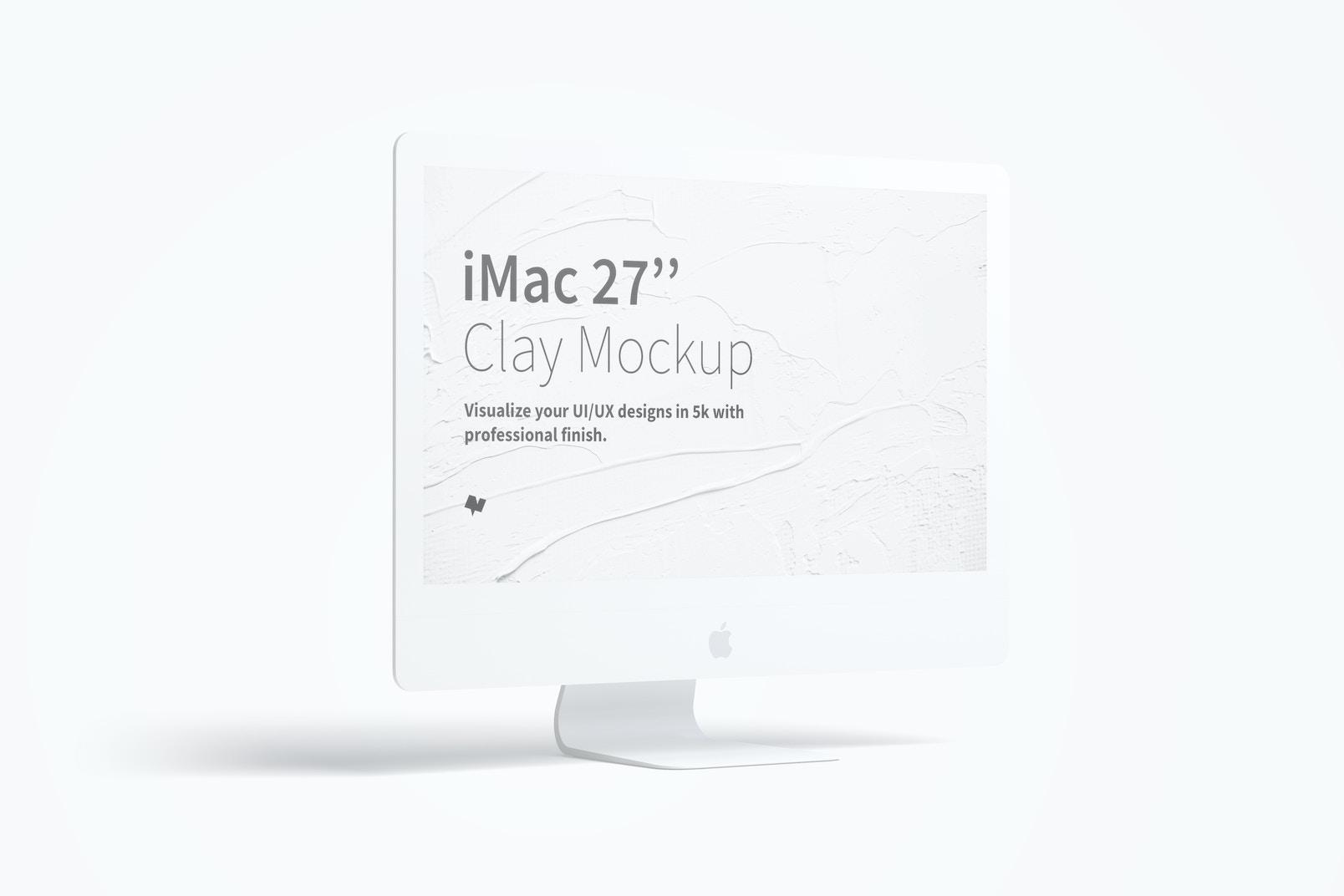 "Clay iMac 27"" Mockup, Left View"