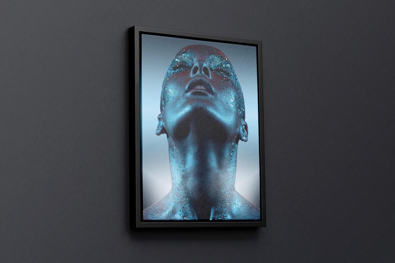 3:4 Portrait Canvas Mockup in Floater Frame, Left View