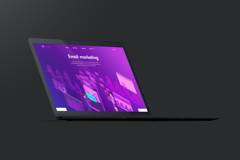 Clay MacBook Mockup, Front Left View