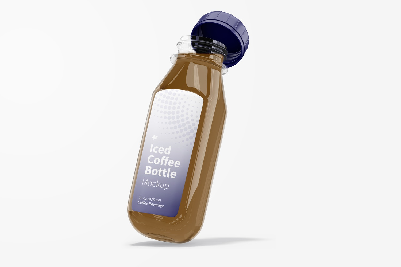Iced Coffee Glass Bottle Mockup, Leaned