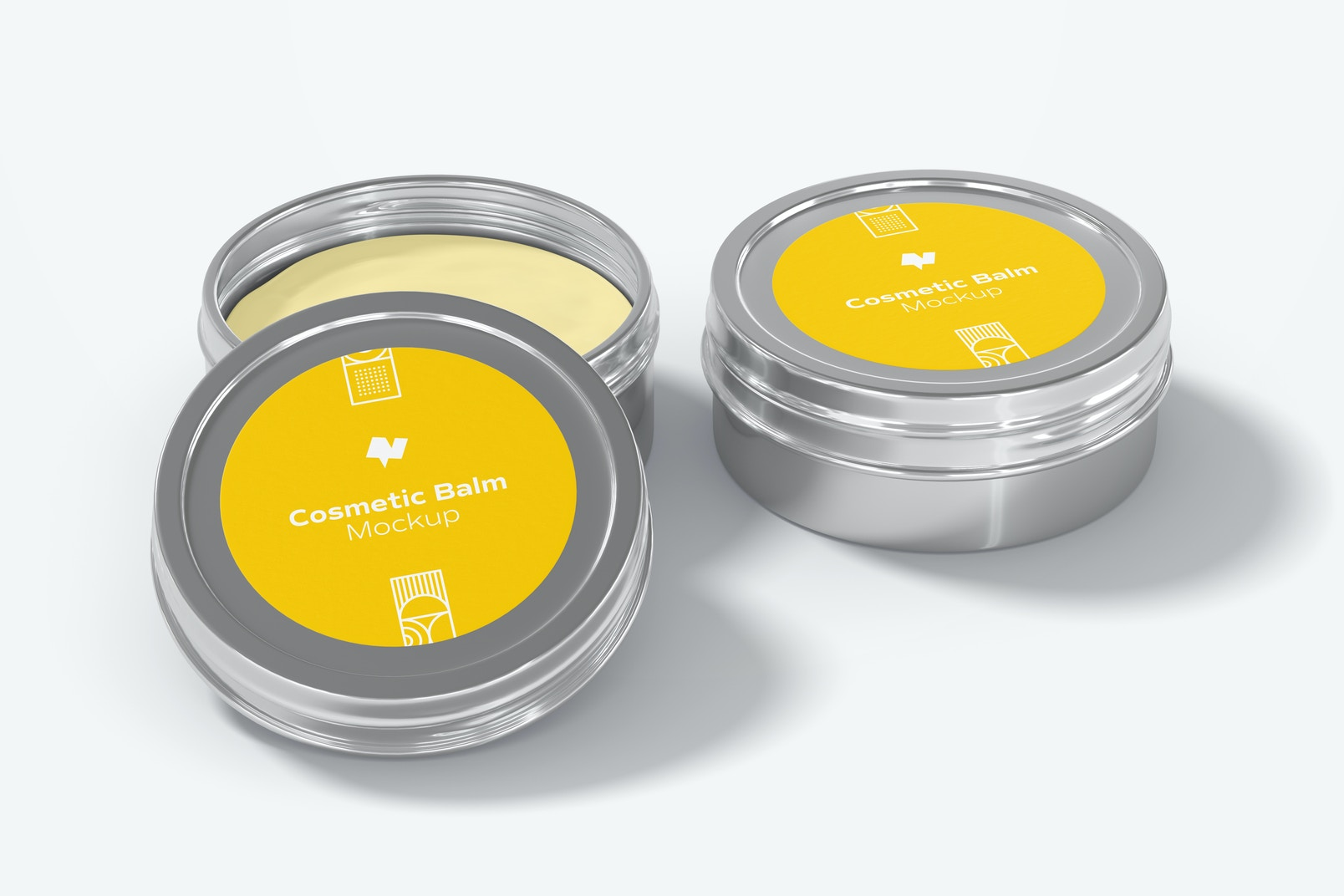 Metallic Cosmetic Balm Packaging Mockup, Open and Closed