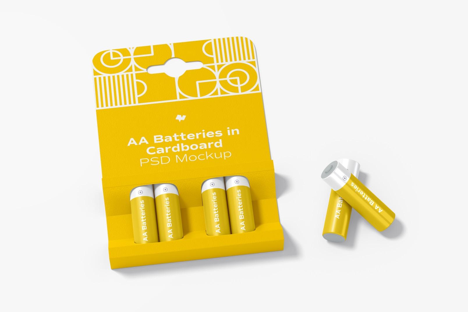 AA Batteries in Cardboard Mockup, Top View