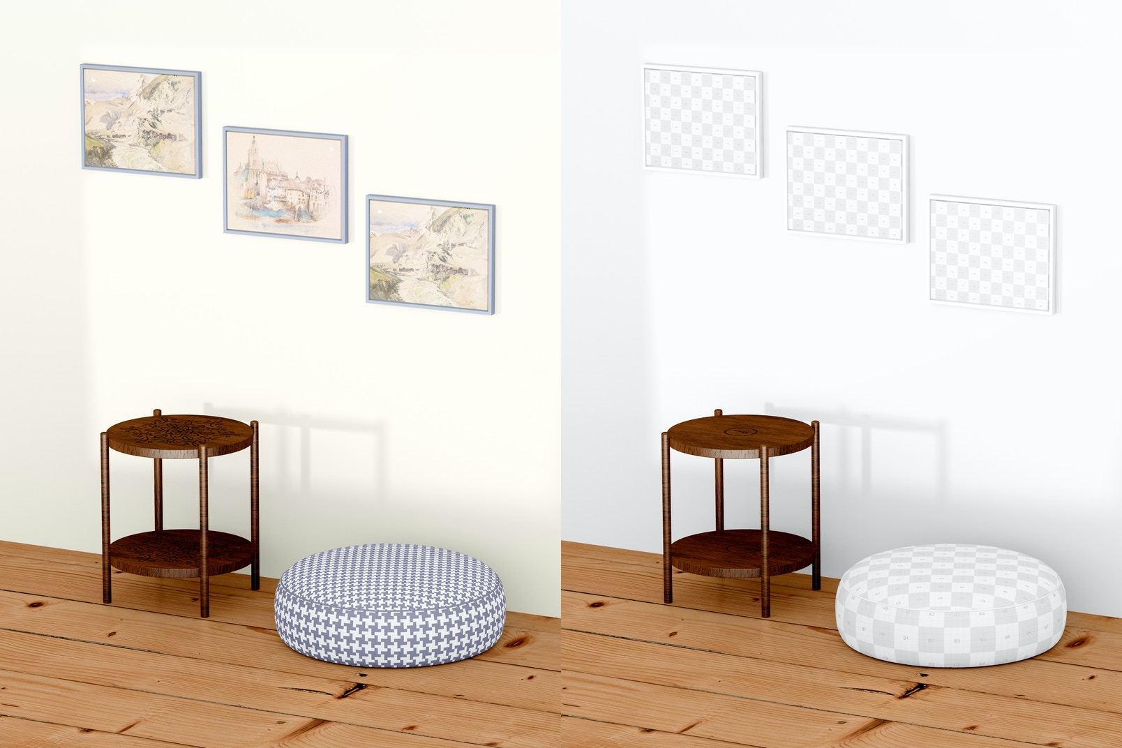 9:7 Landscape Canvas with Large Pouf Mockup, Right View