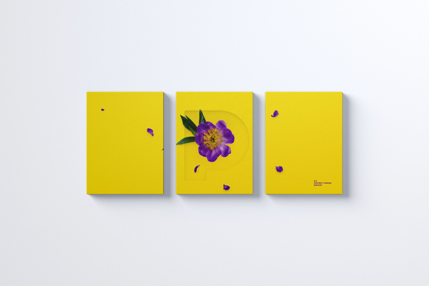 Three 3:4 Portrait Canvas Mockup Hanging on Wall, Front View