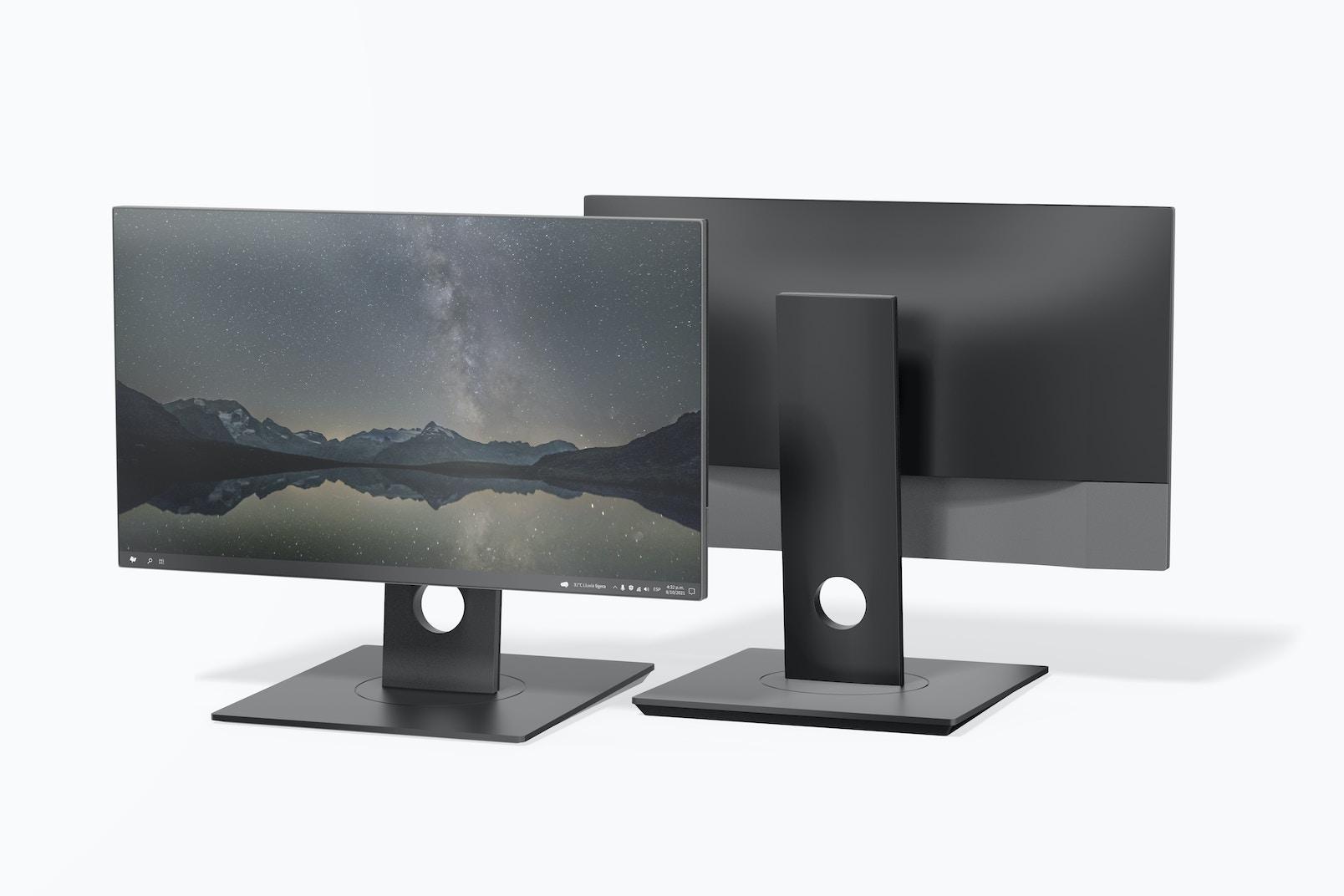 Computer Monitor Mockup, Front and Back