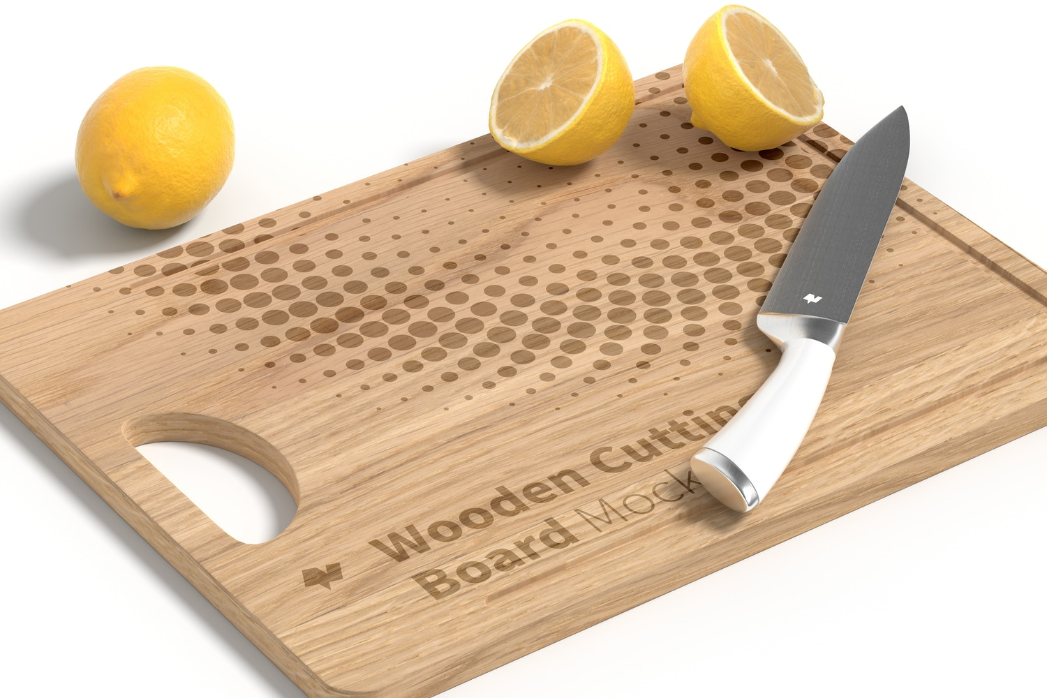 Wooden Cutting Board Mockup, Perspective