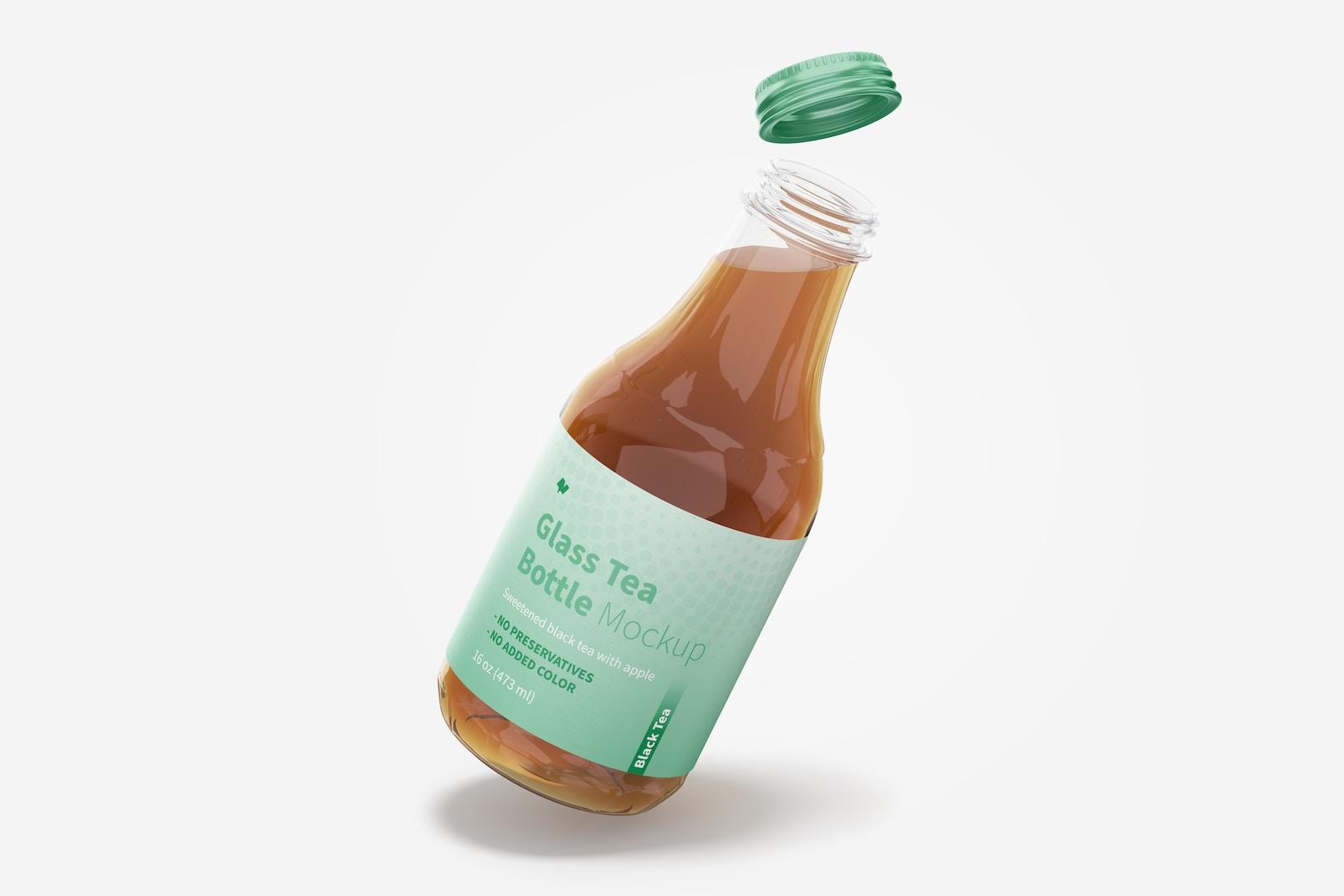16 oz Glass Tea Bottle PSD Mockup, Floating
