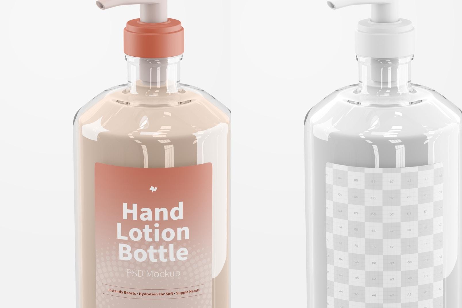 500 ml Hand Lotion Bottle Mockup, Close Up