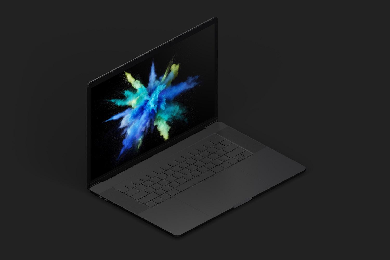 """Maqueta de MacBook Pro de 15"""" con Touch Bar, Vista Isométrica Izquierda, Multicolor (9) por Original Mockups en Original Mockups"""