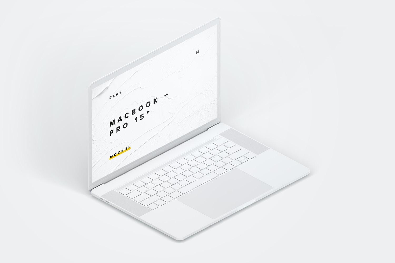"""Maqueta de MacBook Pro de 15"""" con Touch Bar, Vista Isométrica Izquierda, Multicolor (1) por Original Mockups en Original Mockups"""