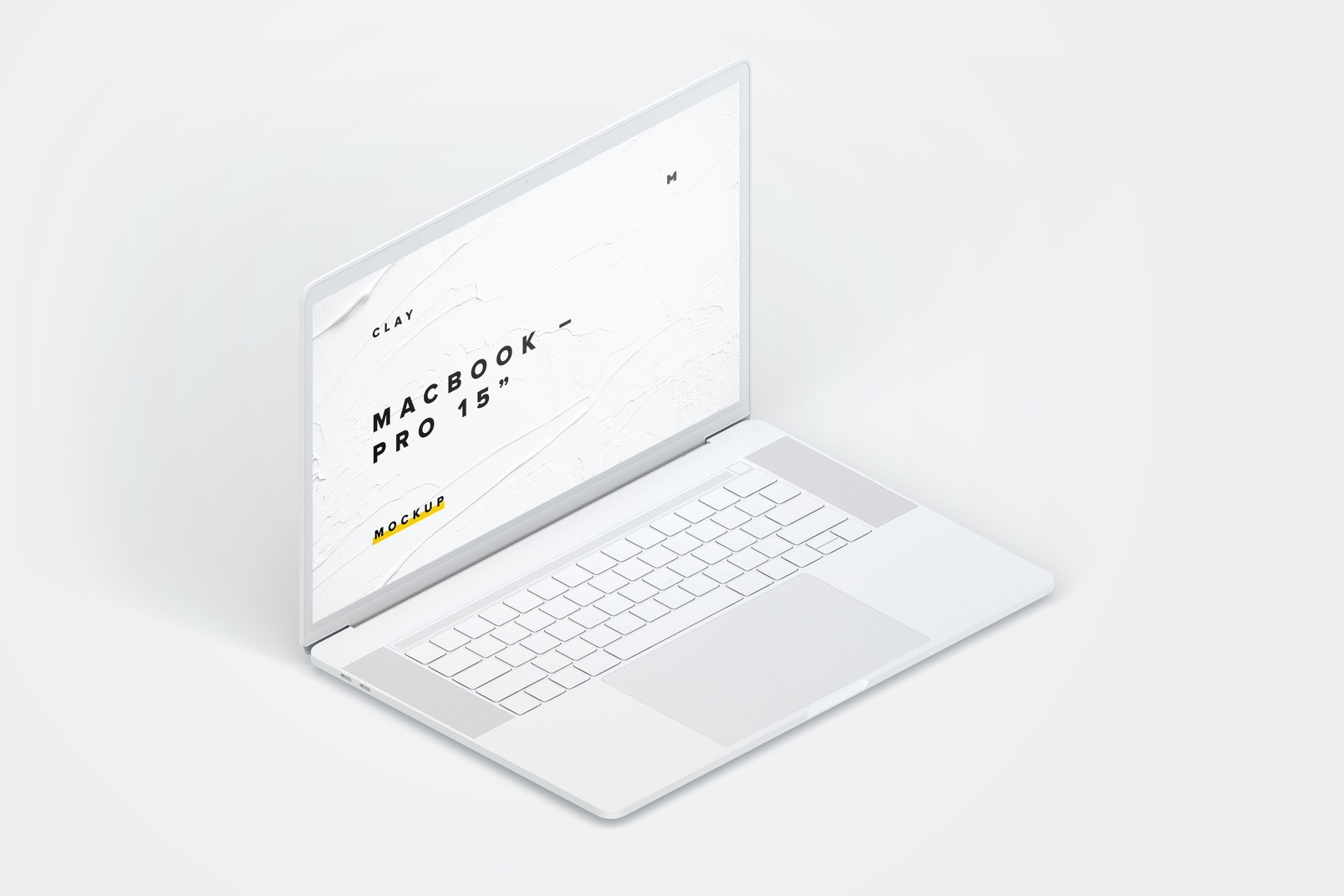 """Clay MacBook Pro 15"""" with Touch Bar, Left Isometric View Mockup"""