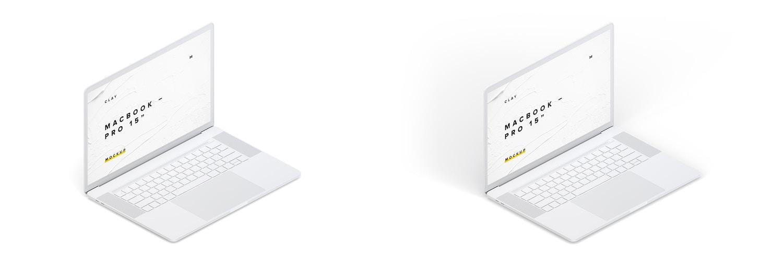 """Maqueta de MacBook Pro de 15"""" con Touch Bar, Vista Isométrica Izquierda, Multicolor (6) por Original Mockups en Original Mockups"""