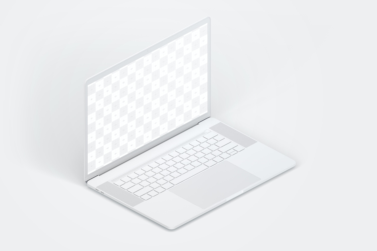 "Clay MacBook Pro 15"" with Touch Bar, Left Isometric View Mockup (2) by Original Mockups on Original Mockups"