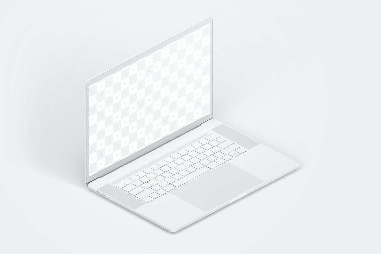 """Maqueta de MacBook Pro de 15"""" con Touch Bar, Vista Isométrica Izquierda, Multicolor (2) por Original Mockups en Original Mockups"""