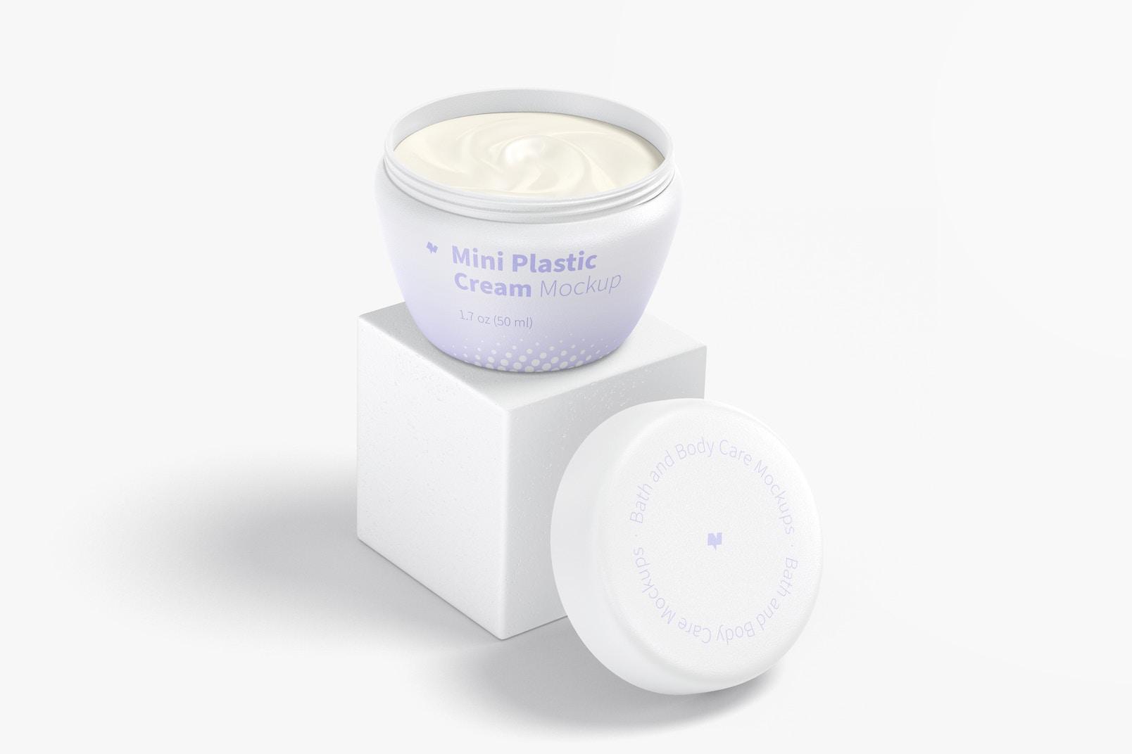 Mini Plastic Cream Jar with Lid Mockup