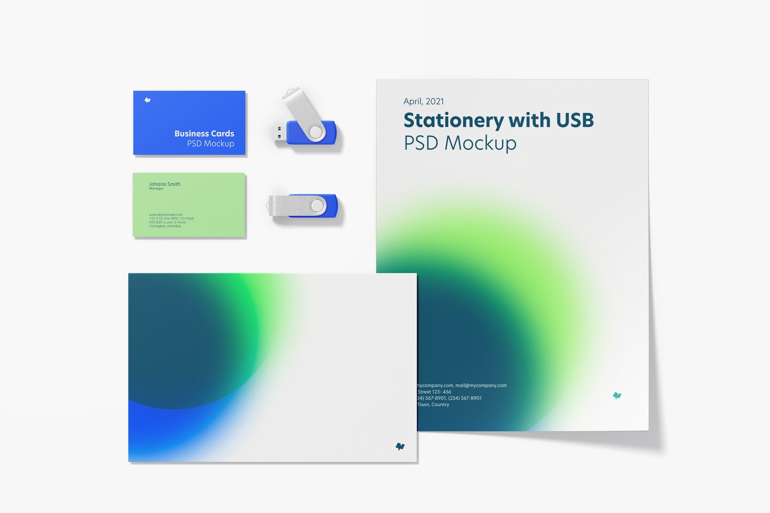 Stationery with USB Flash Drives Mockup, Top View